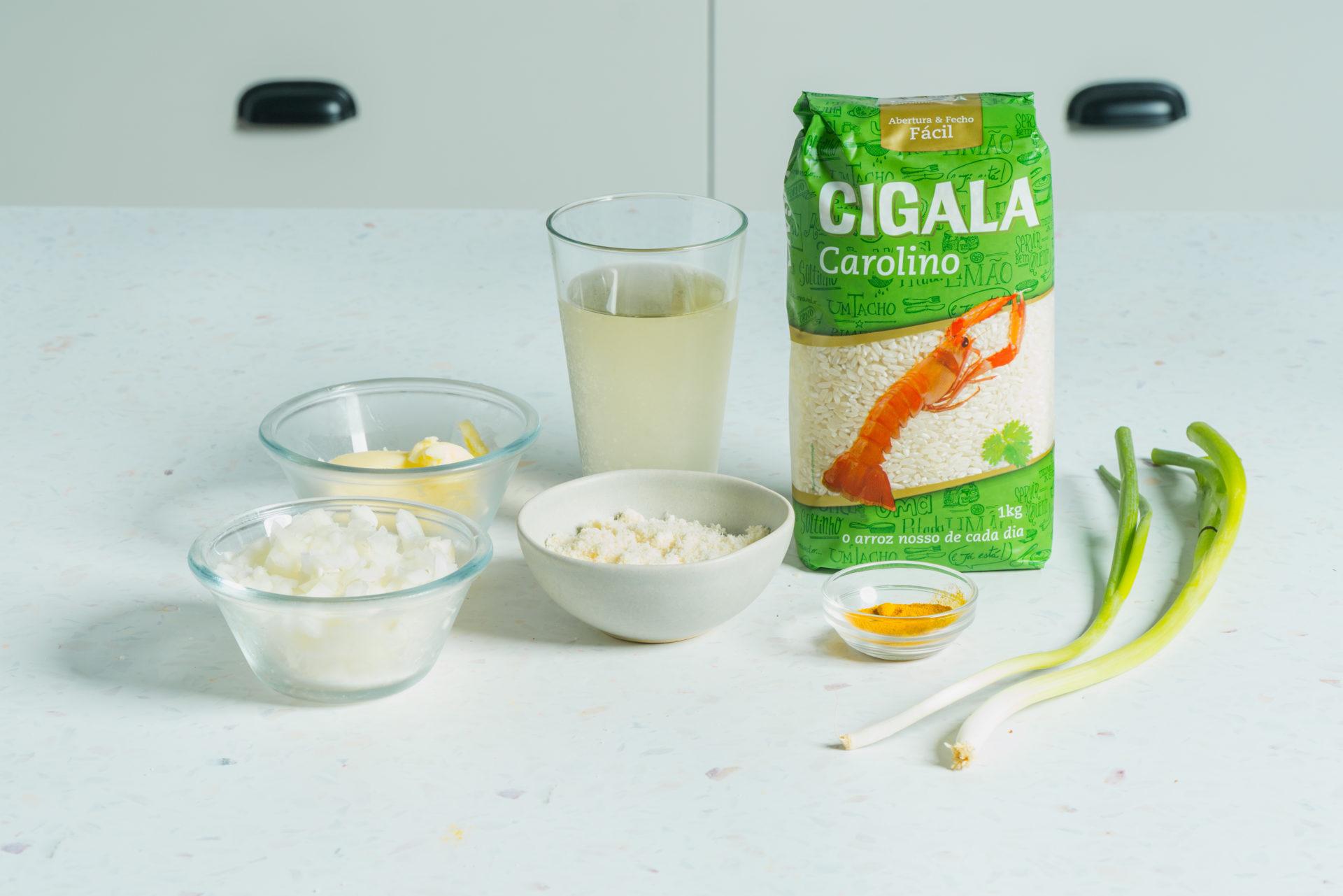 Ingrediente para receita de arroz à milanesa