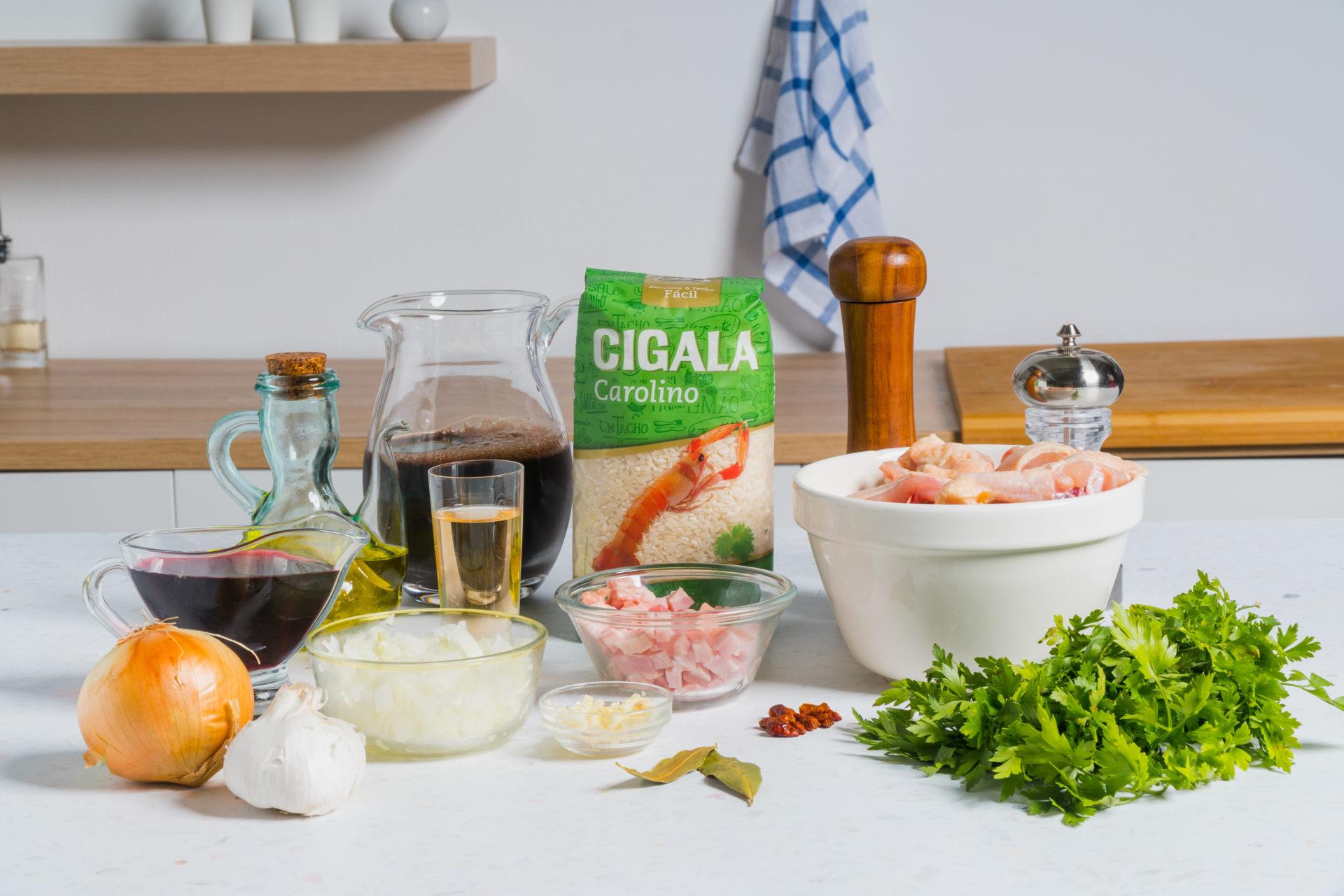 ingredientes para arroz à cabidela
