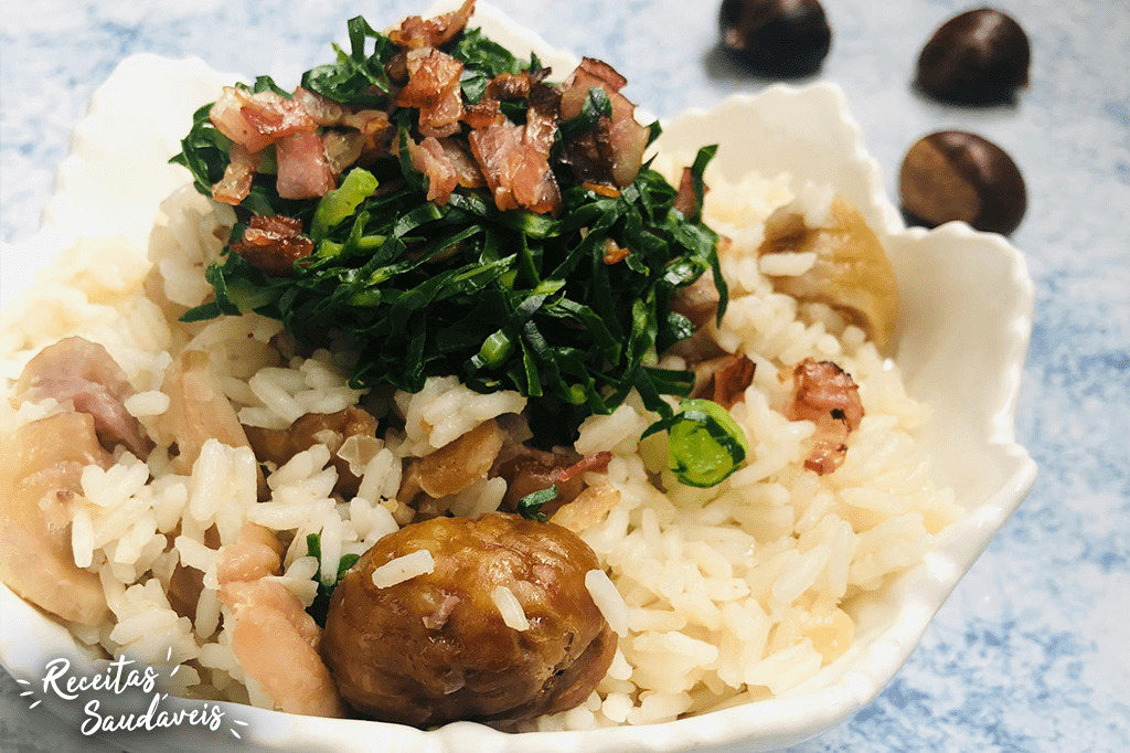arroz de castanhas com bacon crocante de receitas saudáveis cigala