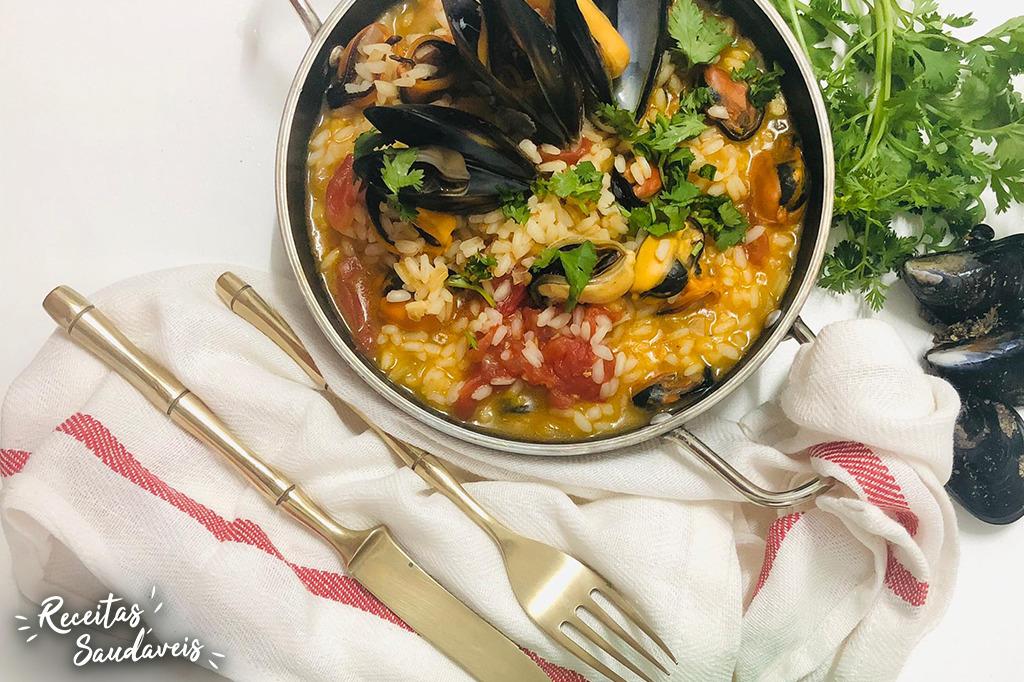arroz de mexilhão de receitas saudáveis cigala
