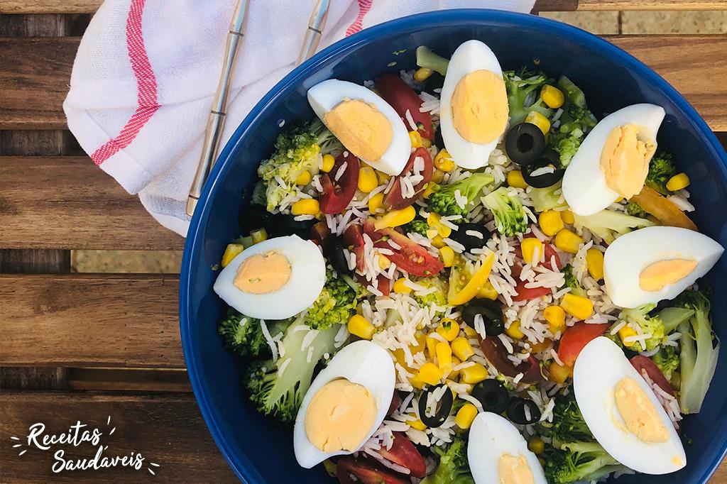 salada fria de arroz basmati cigala