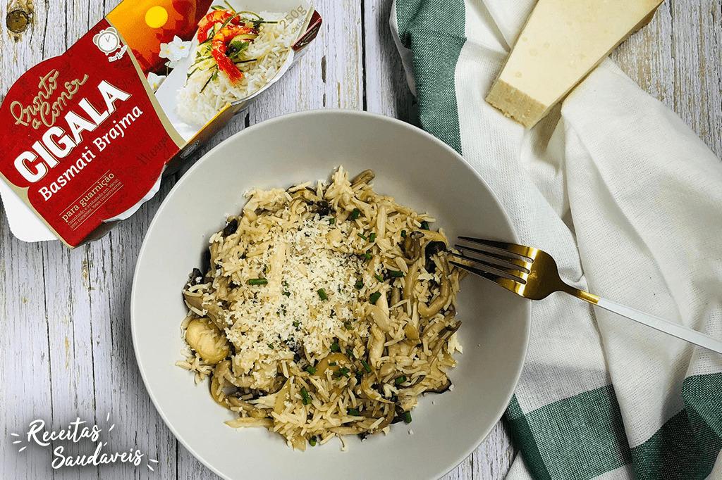 arroz basmati com cogumelos e vinho do porto de receitas saudáveis