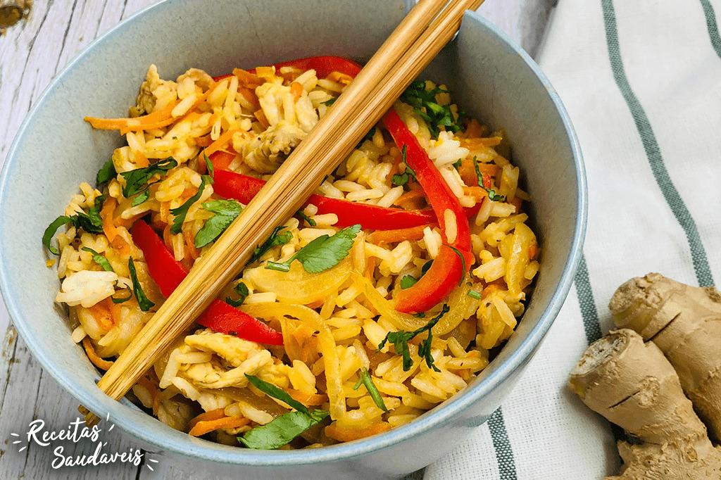 arroz oriental de receitas saudáveis cigala