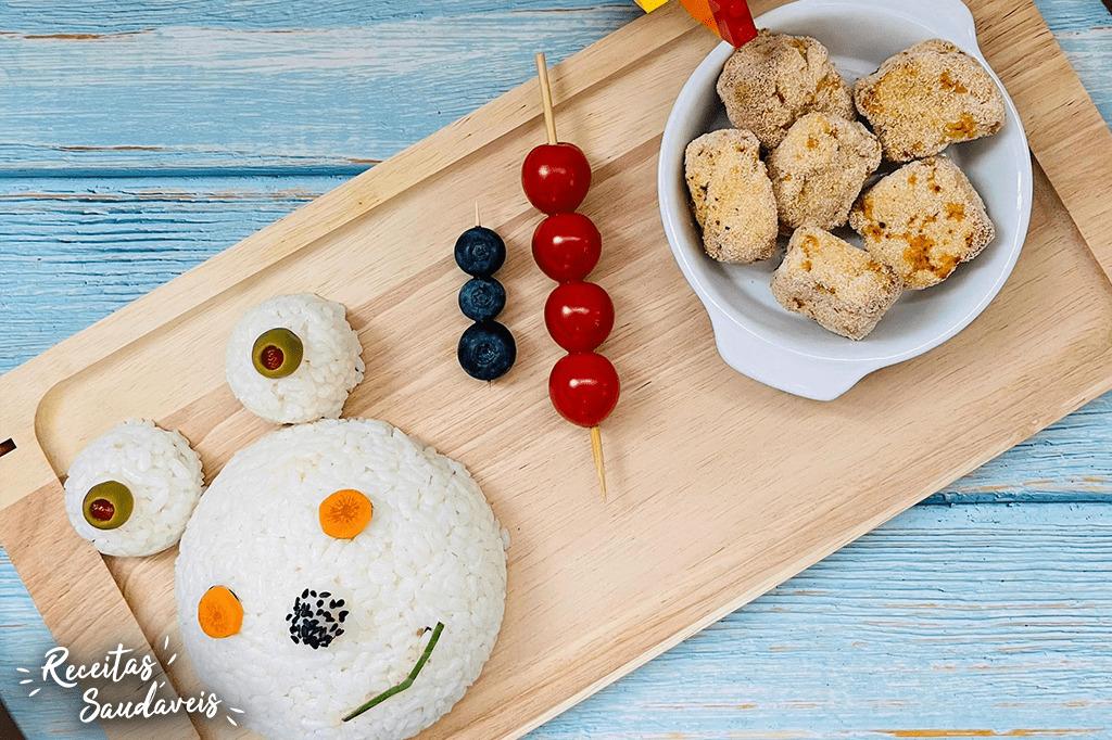 arroz dia da criança com nuggets receitas saudáveis