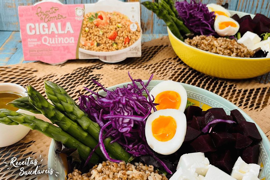 salada de arroz integral com quinoa de receitas saudáveis cigala