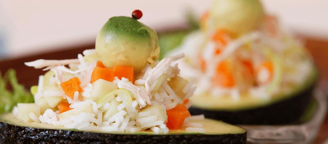Salada de arroz e abacate