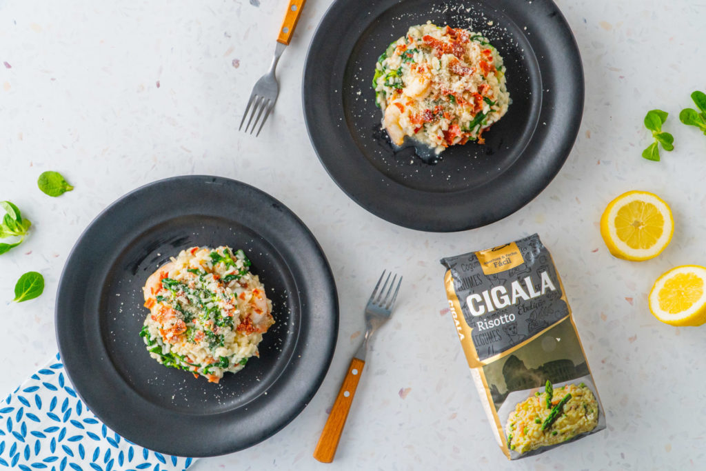 risotto de camarão presunto e agriões