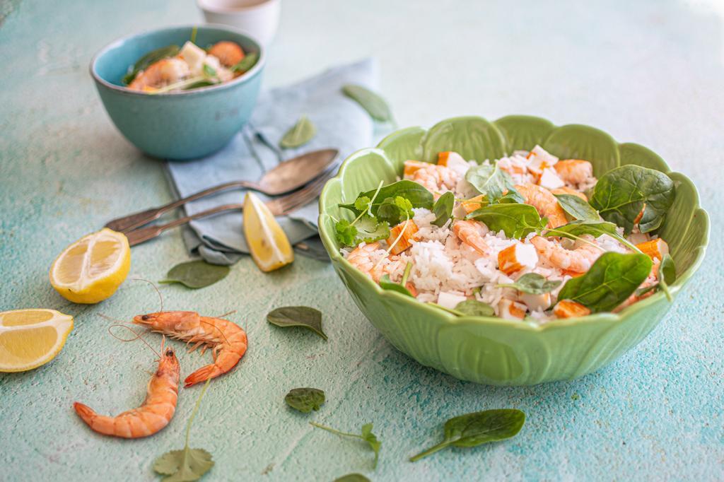 Salada de arroz com frutos do mar